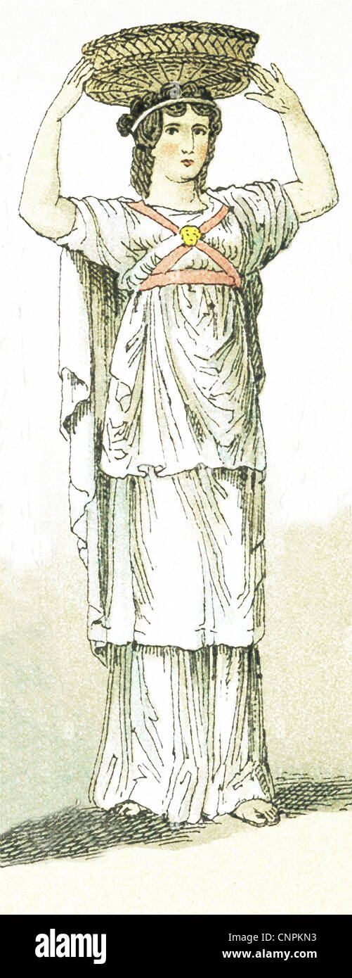 The ancient Greeks represented here are a female basket-bearer at a sacrificial festival. - Stock Image