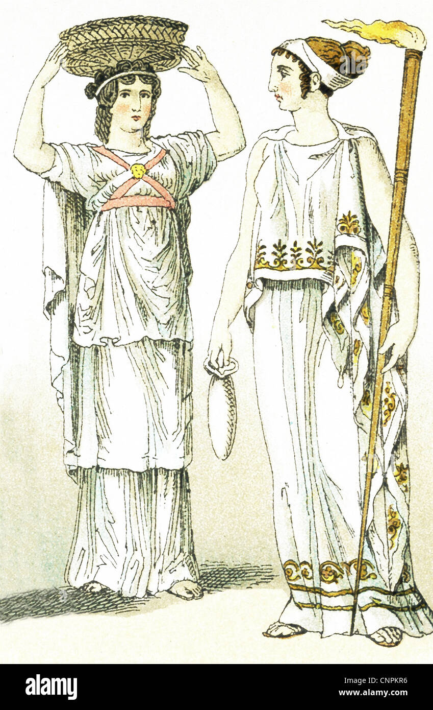 The ancient Greeks represented here are a female basket-bearer at a sacrificial festival and a priestess of Ceres. - Stock Image