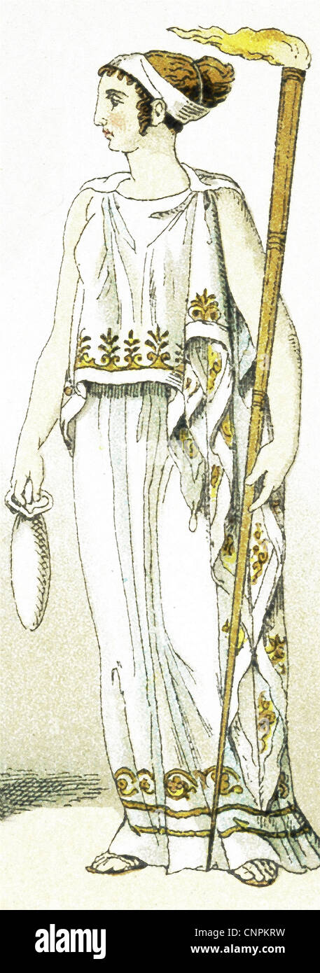 This is a depiction of a priestess of Ceres, the ancient Greek goddess of agriculture and grain and fertility. - Stock Image