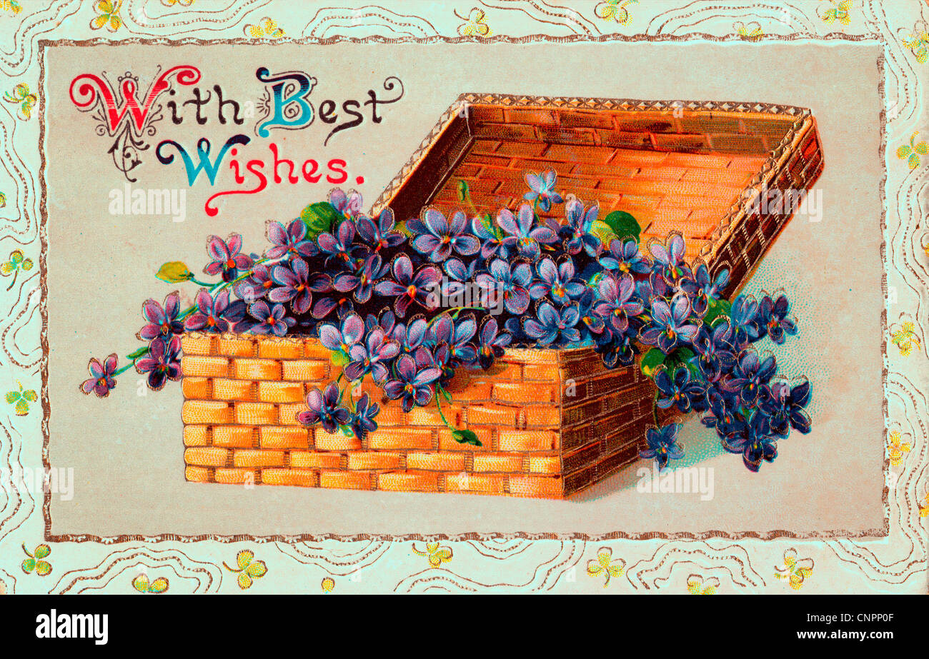 With Best Wishes - Vintage postcard - Stock Image