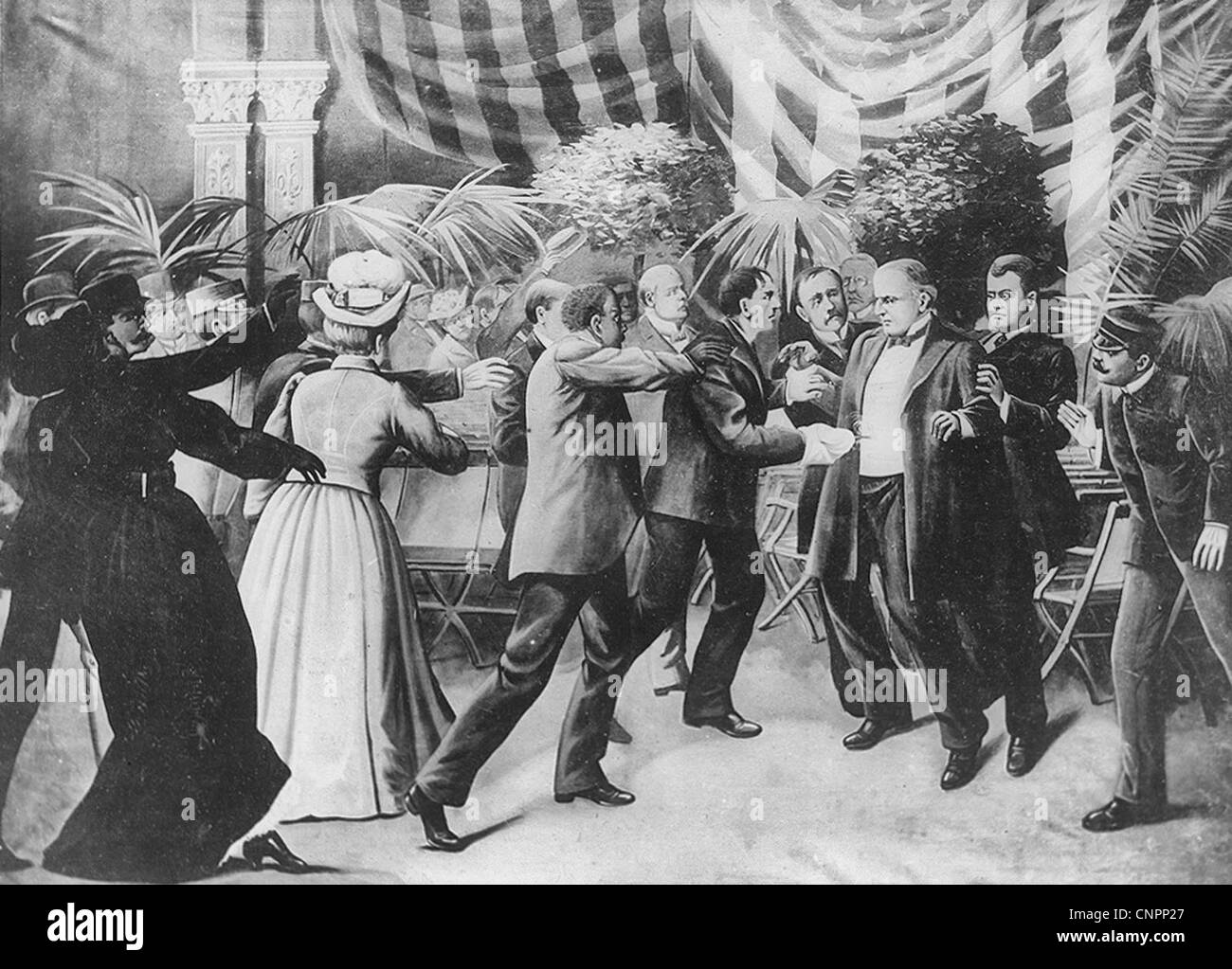 Assassination of President McKinley - Czolgosz shoots President McKinley with a concealed revolver, at Pan-American - Stock Image