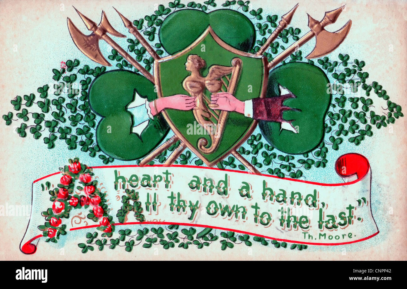 A heart and a hand - all thy own to the last - Thomas Moore - St. Patrick's day card - Stock Image