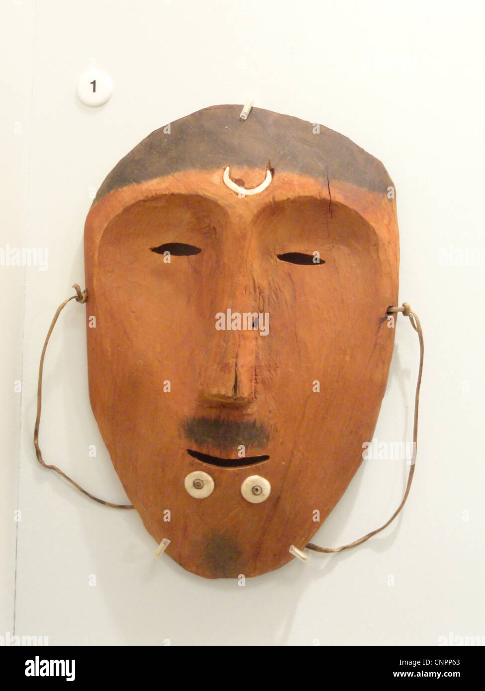 Dance mask, Bering Straight Eskimo, acquired 1909 - Native American collection - Peabody Museum, Harvard University - Stock Image