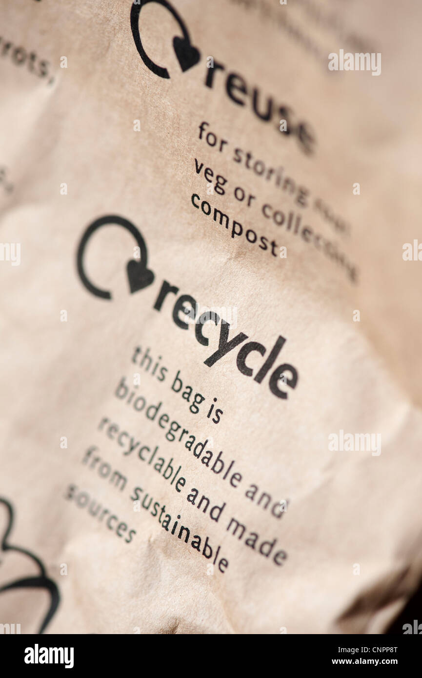 Sustainable, Biodegradable, recyclable message printed on a paper bag - Stock Image