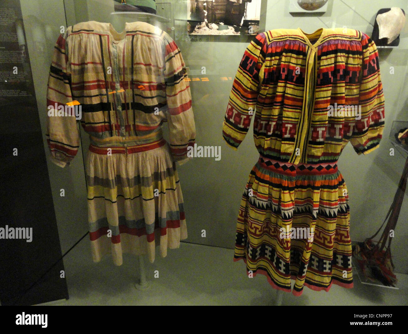 Big shirts, Seminole, collected in 1920 (left) and 1936 (right) - Native American collection - Peabody Museum, Harvard - Stock Image