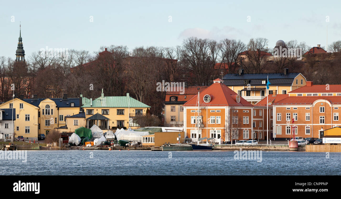 Stockholm Sweden skyline from aboard the Waxholm III, a boat that tours the nearby archipelago. - Stock Image