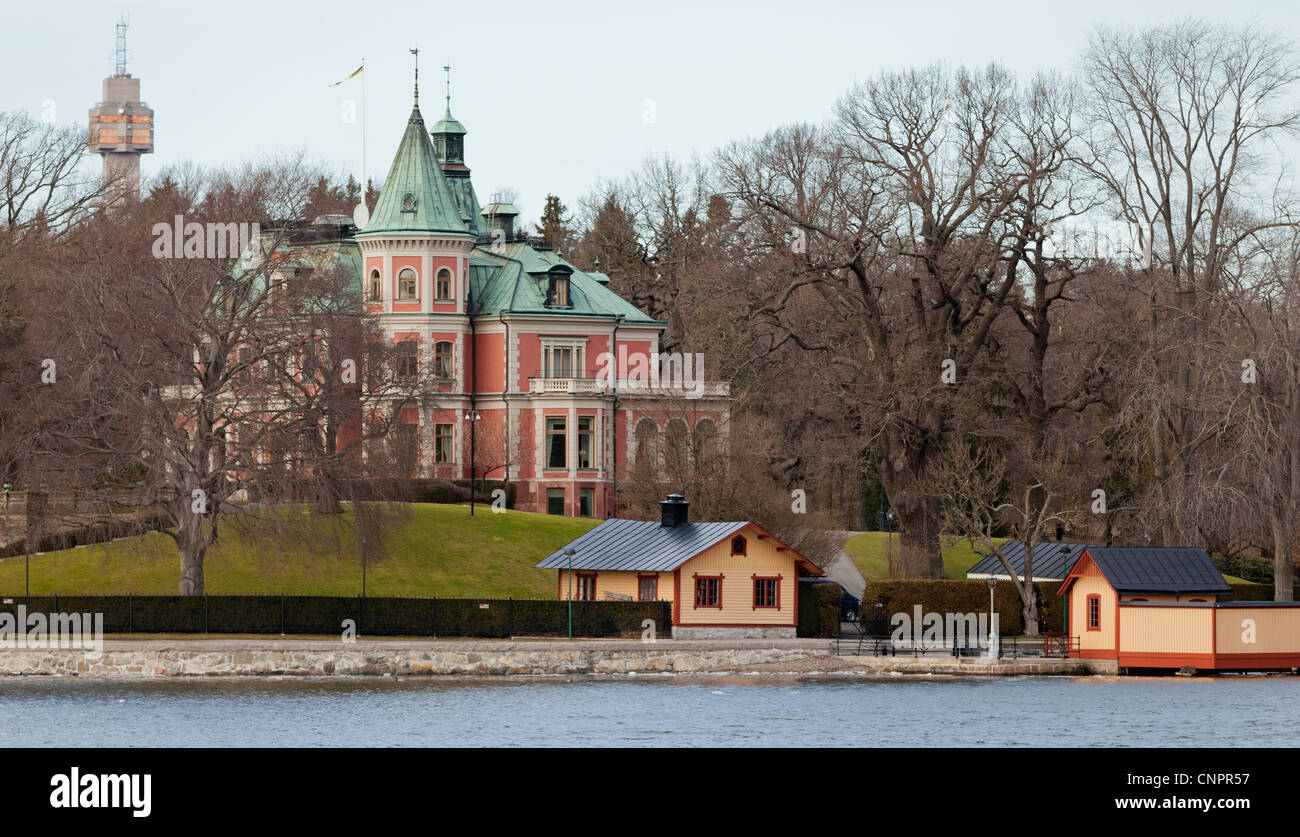 Homes and other buildings in the archipelago, near Stockholm, Sweden - Stock Image