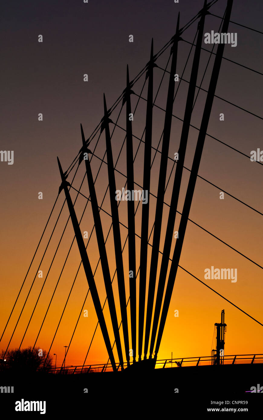 The Media City swing bridge at Salford Quays, Manchester, England, UK - Stock Image