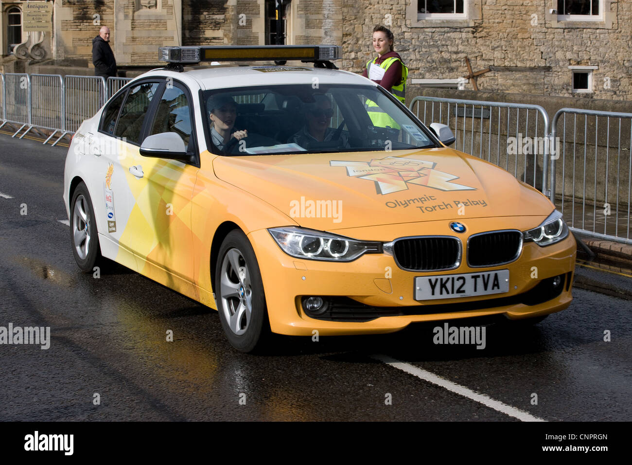 BMW Olympic Torch Relay Support Car - Stock Image