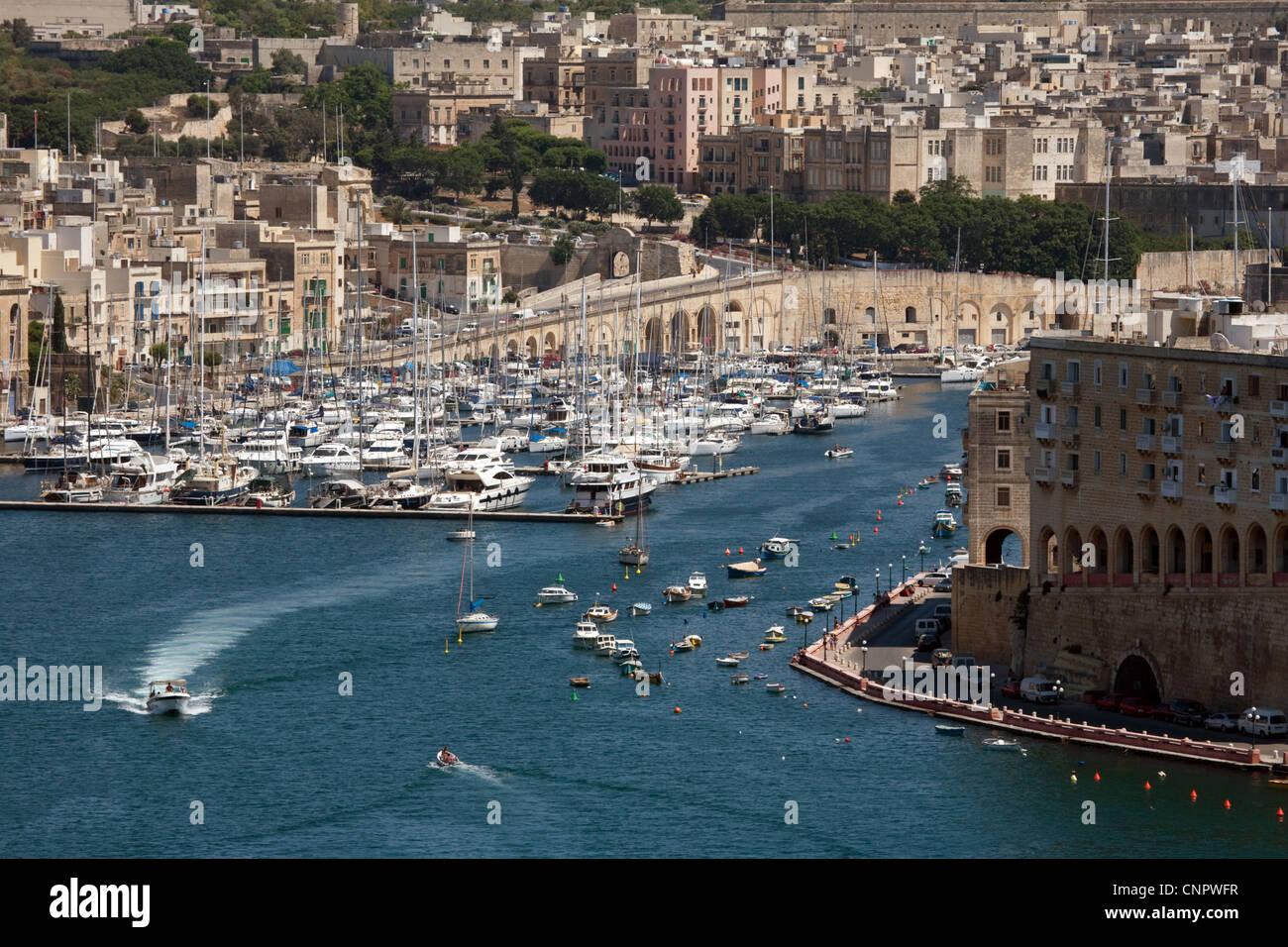 A view of the Three Cities marina from the Upper Barrakka gardens, Valletta, Malta, Europe - Stock Image