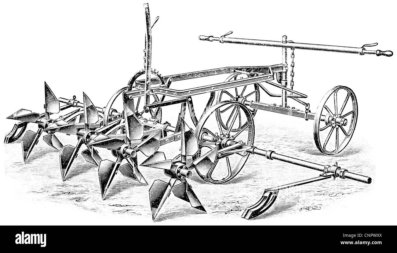 Potato planter. Publication of the book 'Meyers Konversations-Lexikon', Volume 7, Leipzig, Germany,1910 - Stock Image