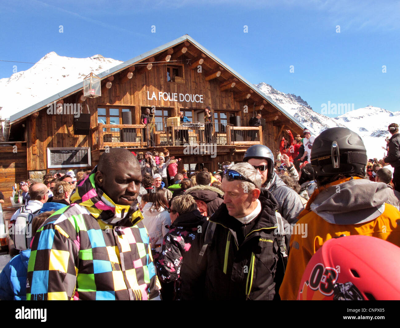 Skiers At La Folie Douce Cafe Val Thorens Les Portes Du Soleil