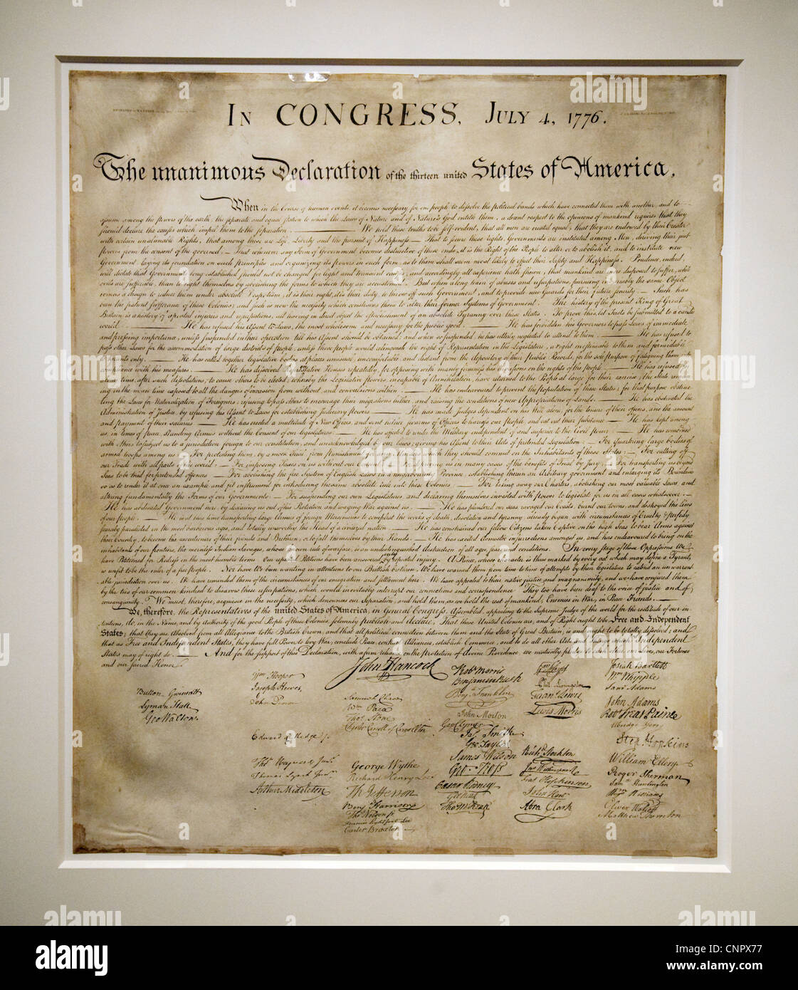 The original Declaration of Independence document, the National Archives, Washington DC USA - Stock Image