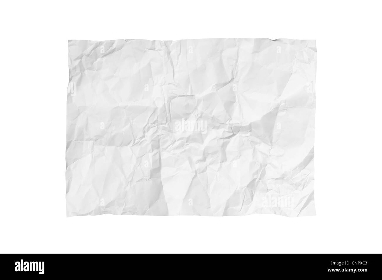 White crumpled paper on white background isolated - Stock Image