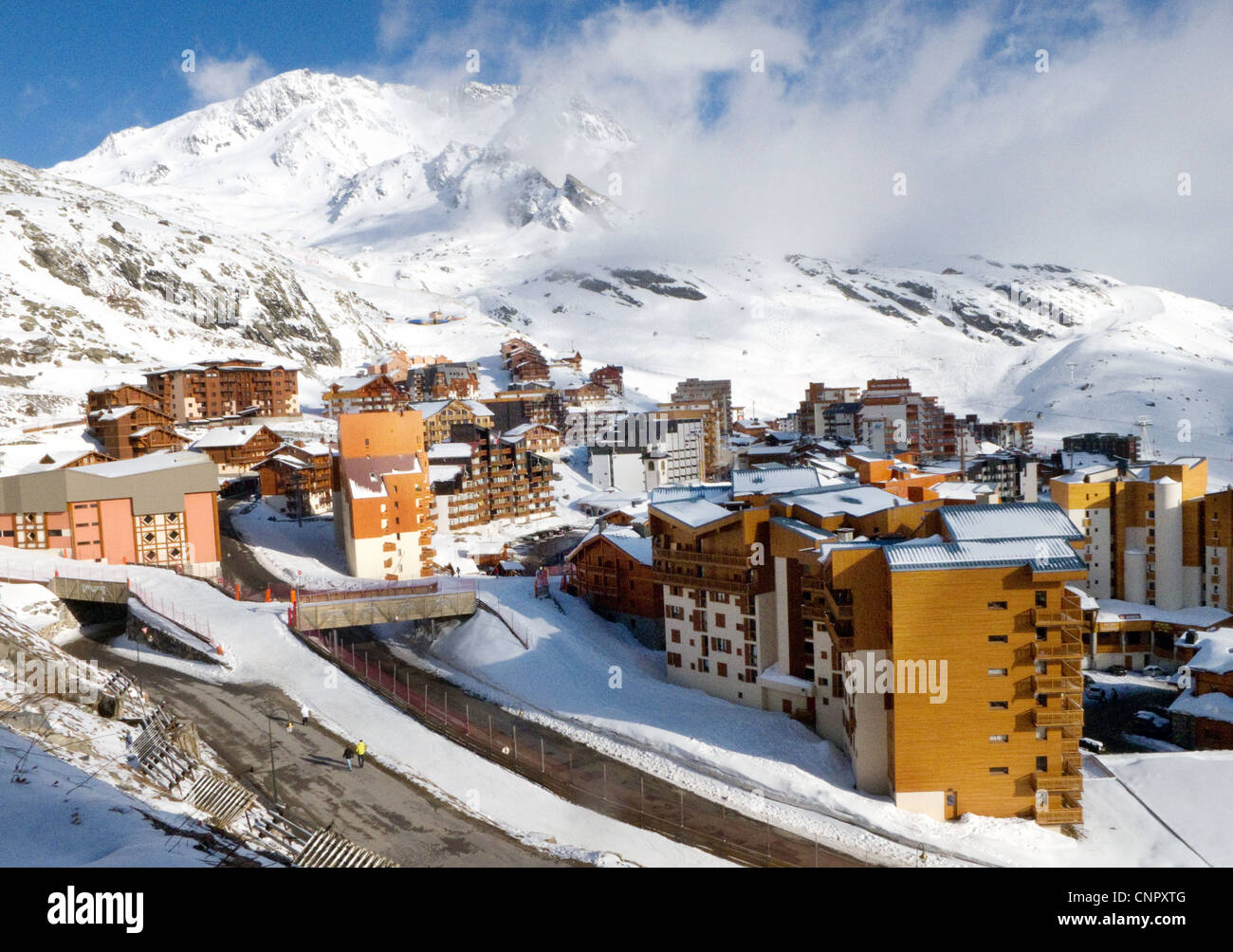 The alpine skiing village of Val Thorens, France Europe - Stock Image