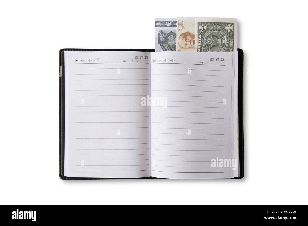 Open book and U.S. currency - Stock Image