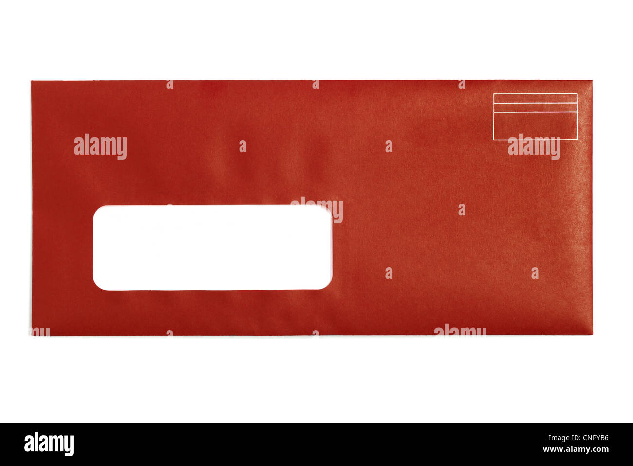 Red Window Envelope with white background - Stock Image