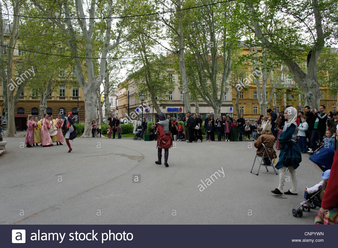 Dance performances in the park Zrinjevac, Zagreb, Croatia - Stock Image