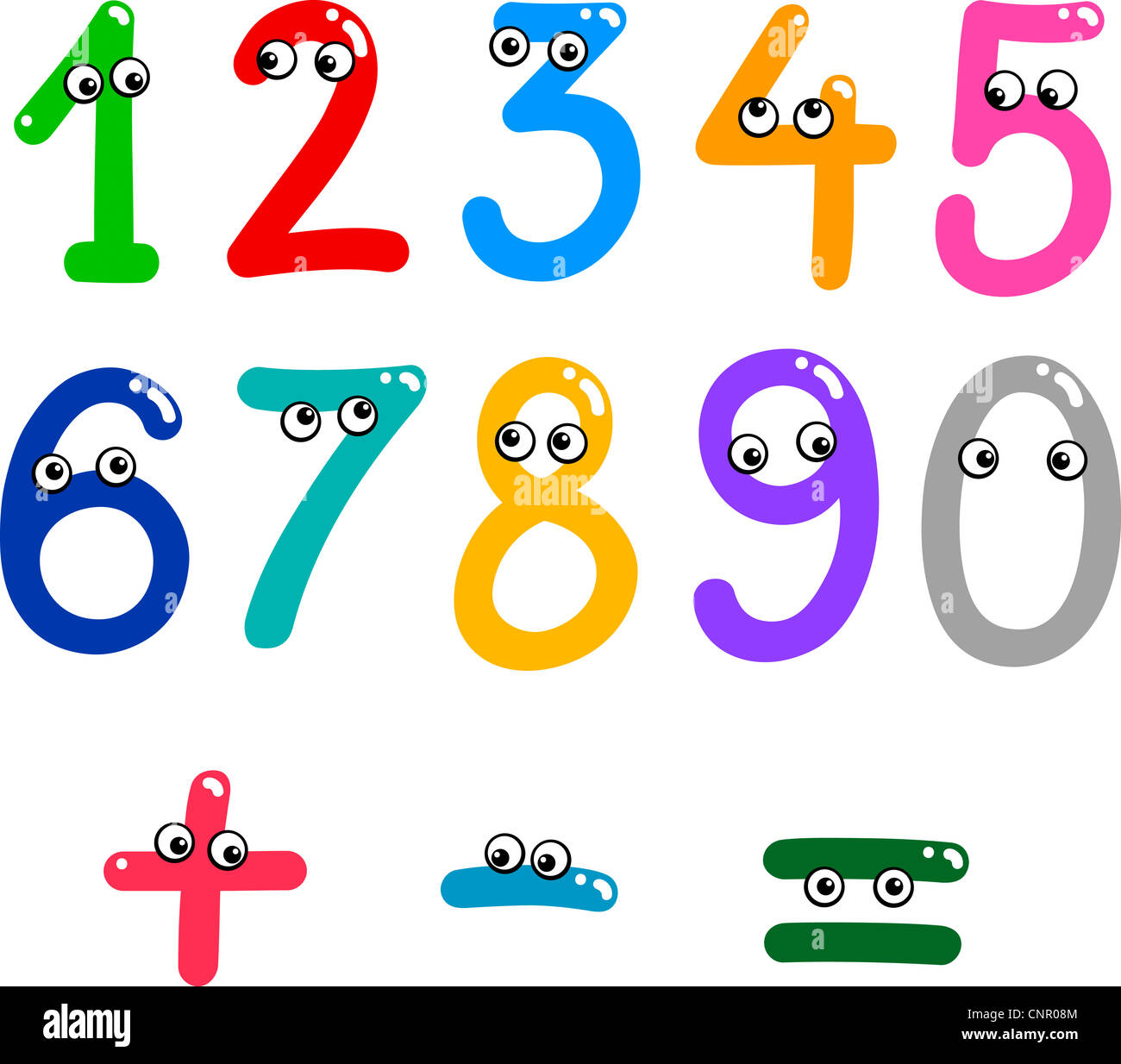 Illustration Of Numbers From Zero To Nine And Math Symbols Stock