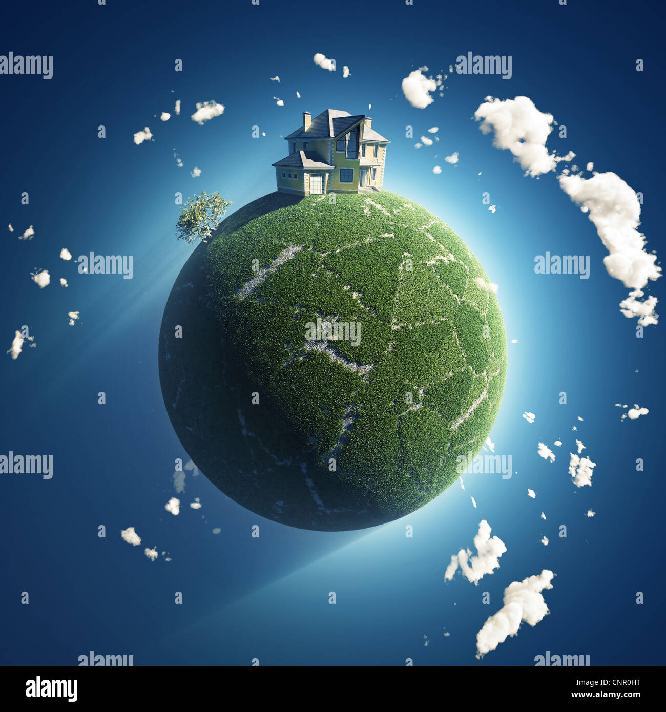 private house on green planet - Stock Image