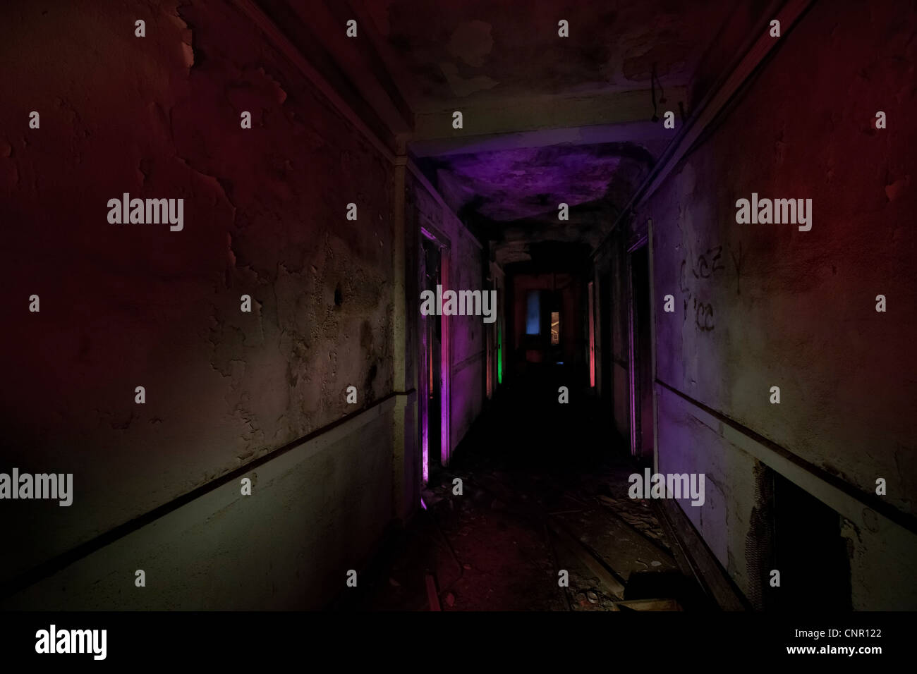 Abandoned Haunted Hotel, Stanford Texas, featured on Ghost Hunters - Stock Image