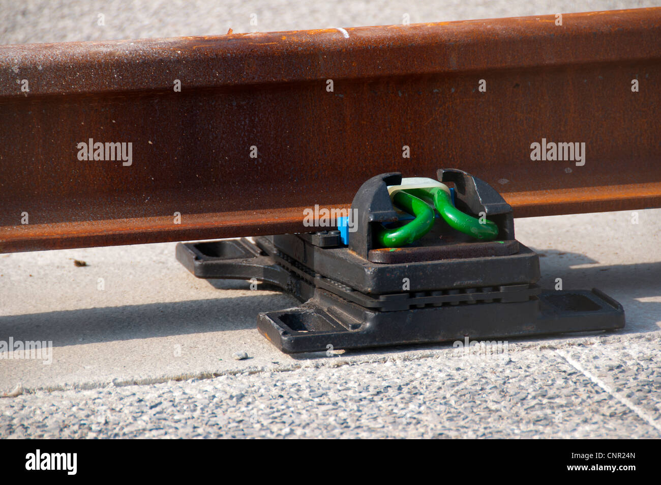 Pandrol Vipa rail fastening, used for noise reduction on the Metrolink East Manchester Line, Tameside, Manchester - Stock Image