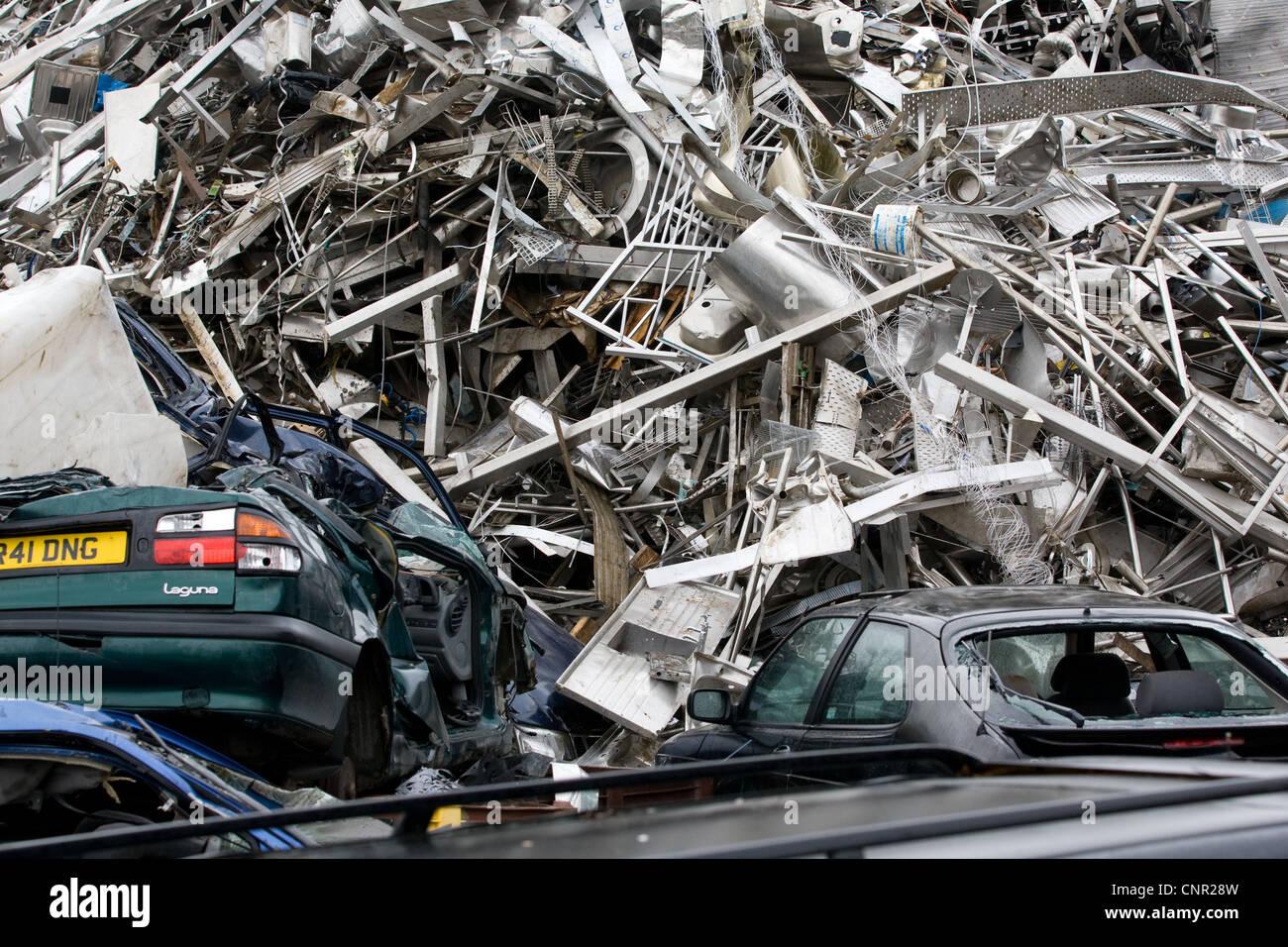 Scrap metal in a scrap yard - Stock Image