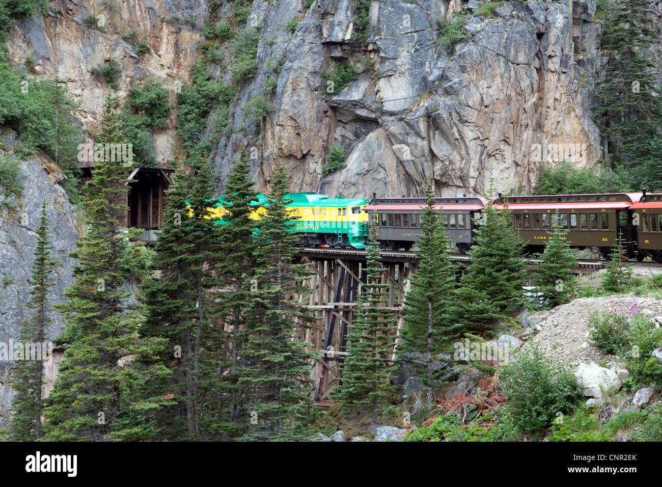 white pass and yukon route railroad, skagway, alaska, usa stock