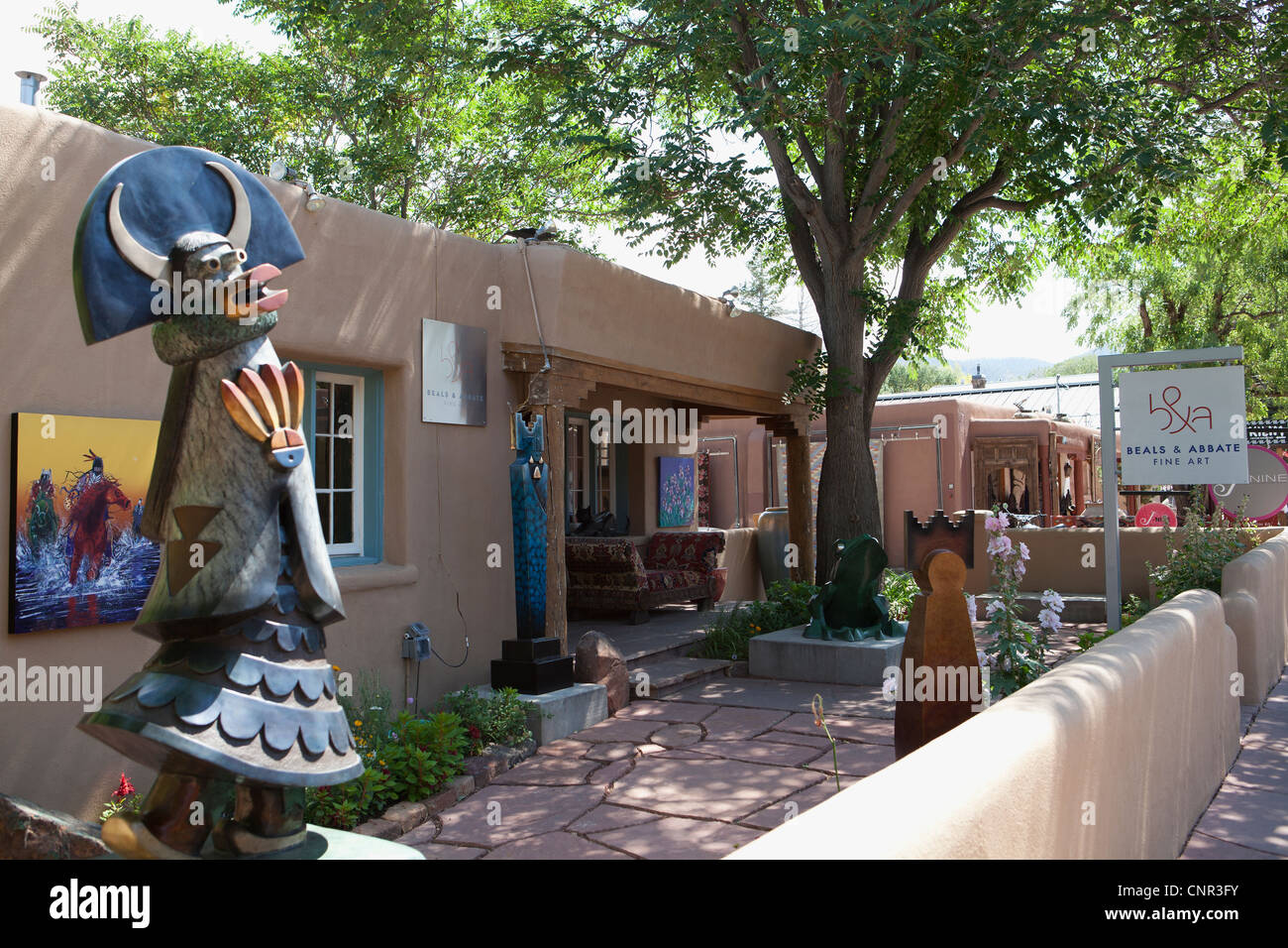 Patio Of Art Gallery, Canyon Road, Santa Fe, New Mexico, United States Of  America