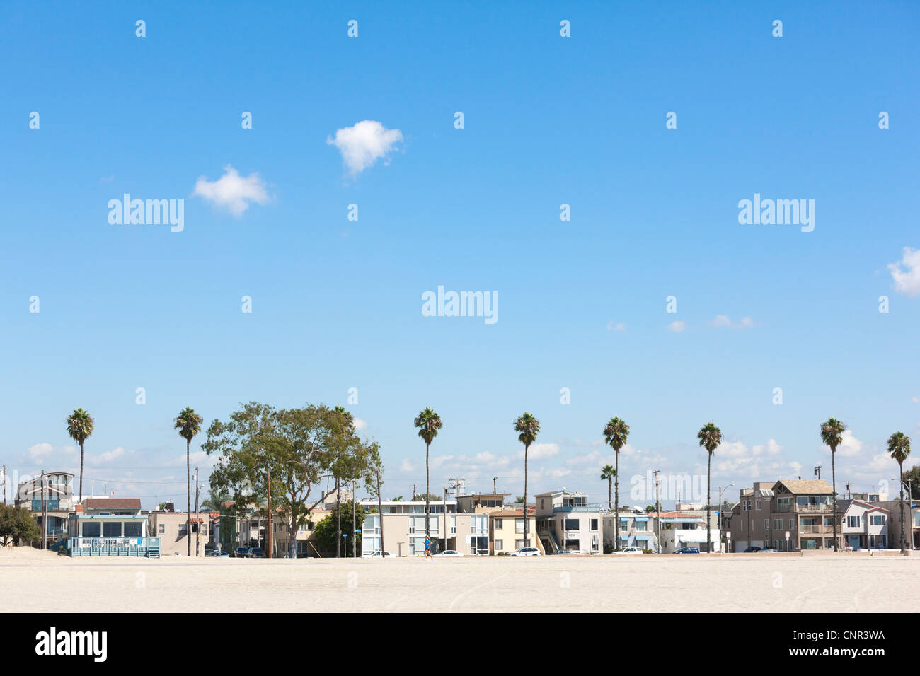 Long Beach California, East E Ocean Boulevard beach front homes. Looking out over the beachfront sand, with palm - Stock Image
