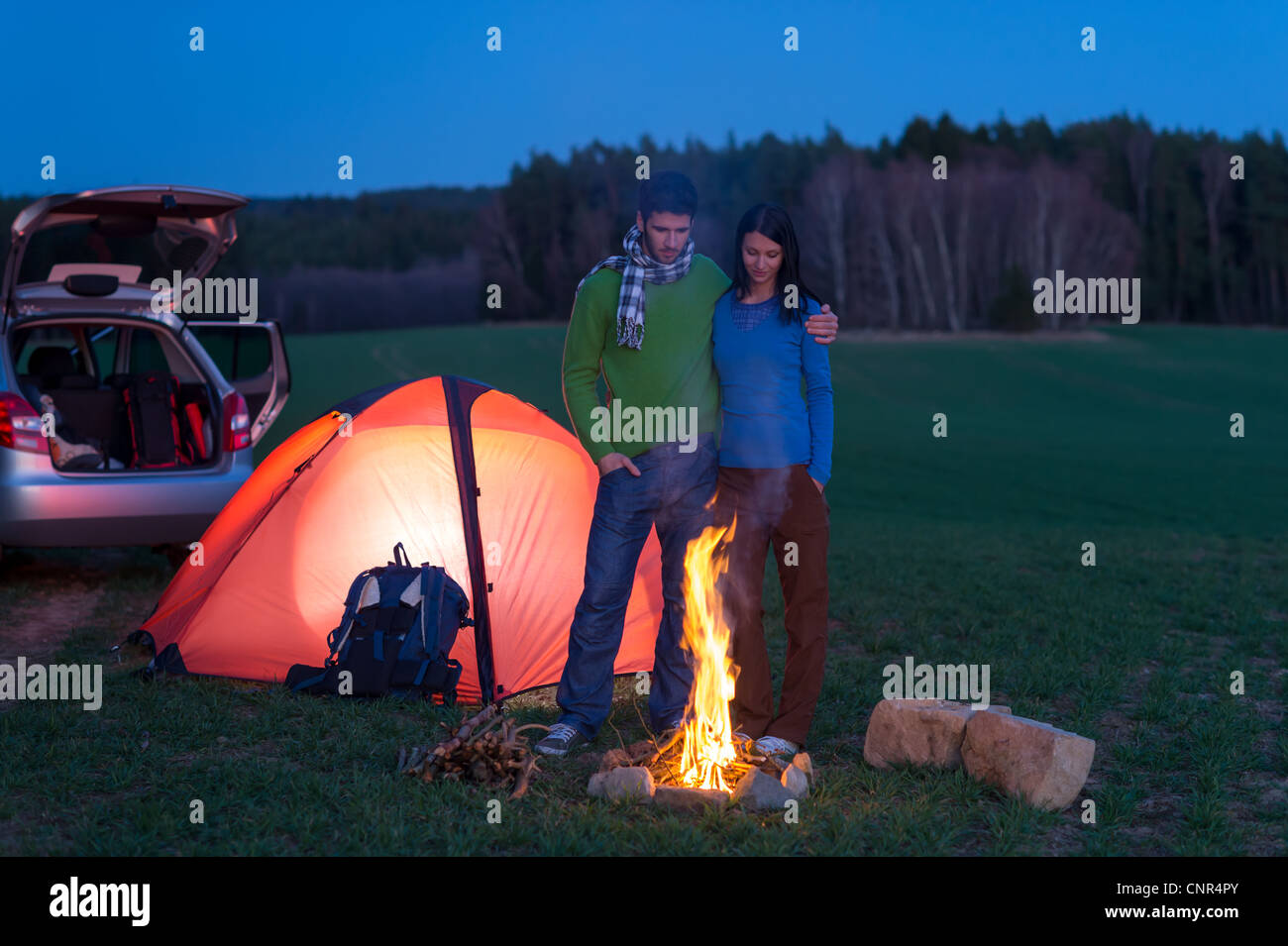 Tent Camping Car Couple Romantic Stand By Bonfire Night Countryside