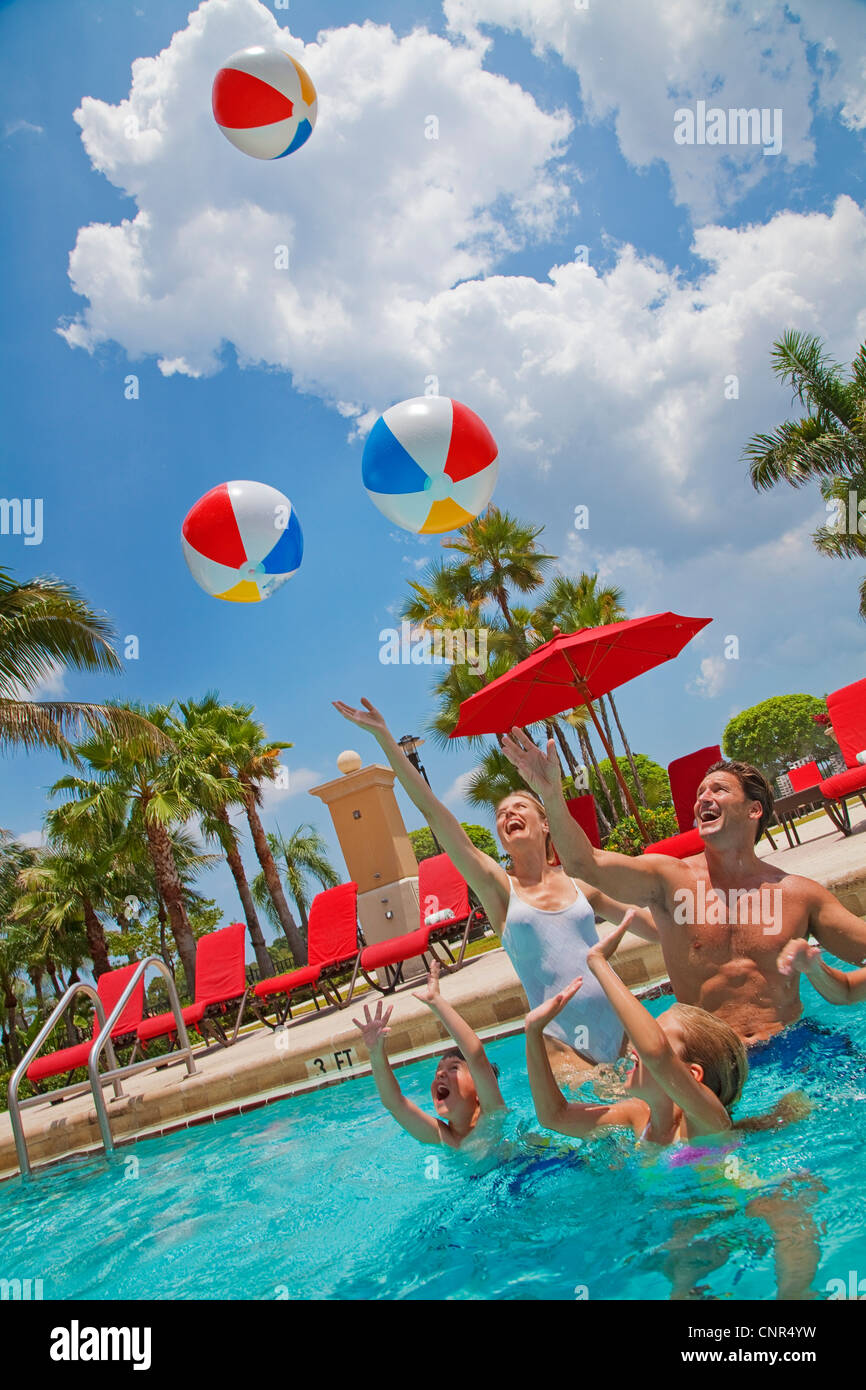 Family in Pool, PGA National Resort and Spa, Palm Beach Gardens, Florida, USA Stock Photo