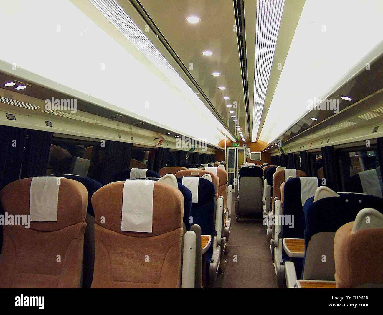 The interior of a refurbished GNER Mark IV FO vehicle. - Stock Image