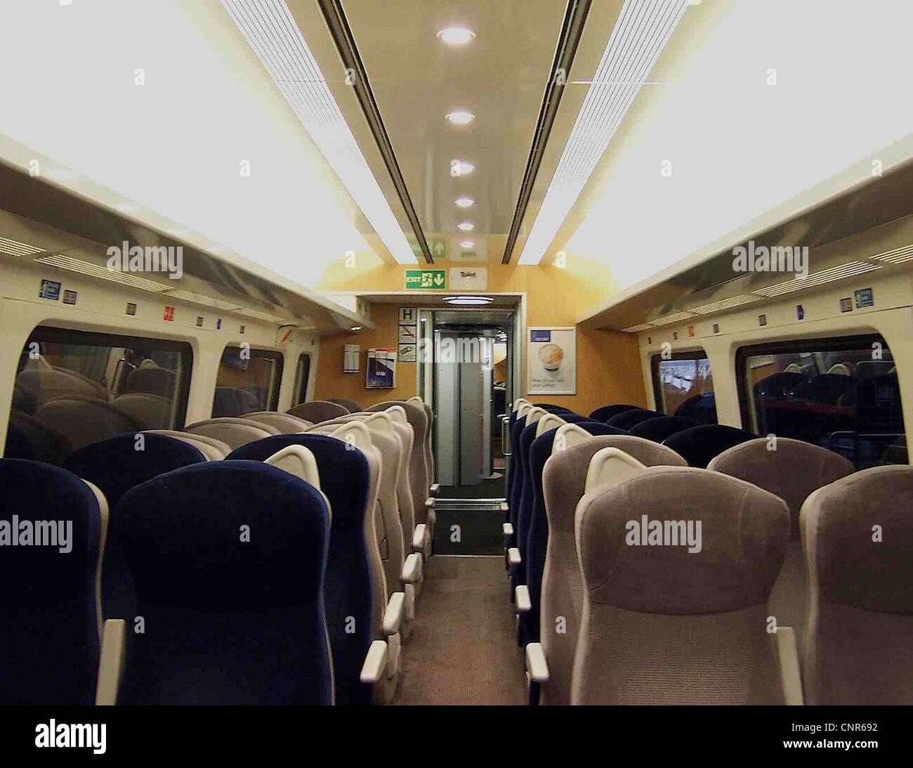 The interior of a refurbished GNER Mark IV RSM vehicle, showing the new Standard Class saloon. - Stock Image