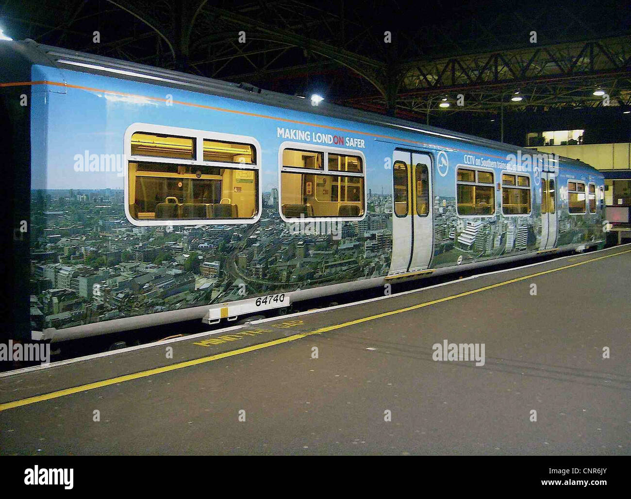 Southern/TfL CCTV advertising livery as shown on the DMSO vehicle from Southern Metro Class 456 EMU No. 456006} - Stock Image