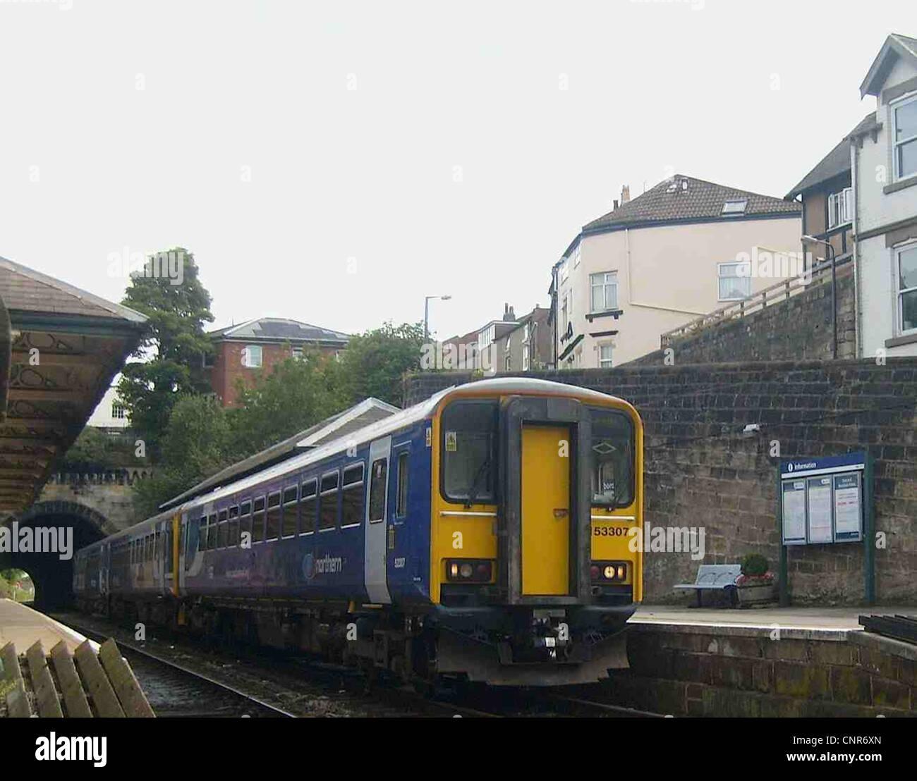 Northern Rail refurbished Class 153 No. 153307 is seen at Knaresborough, -  Stock Image