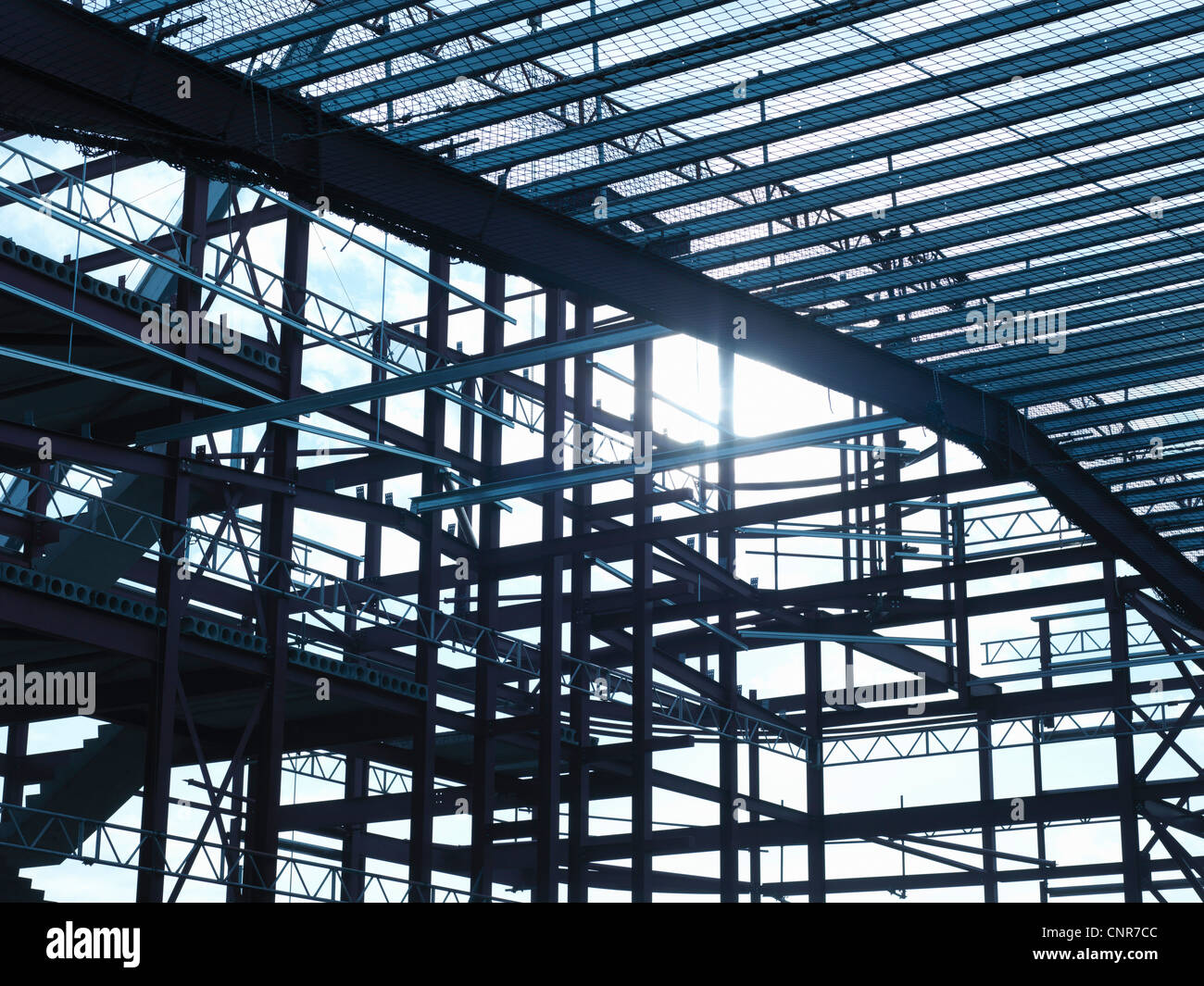 Steel frame at construction site - Stock Image