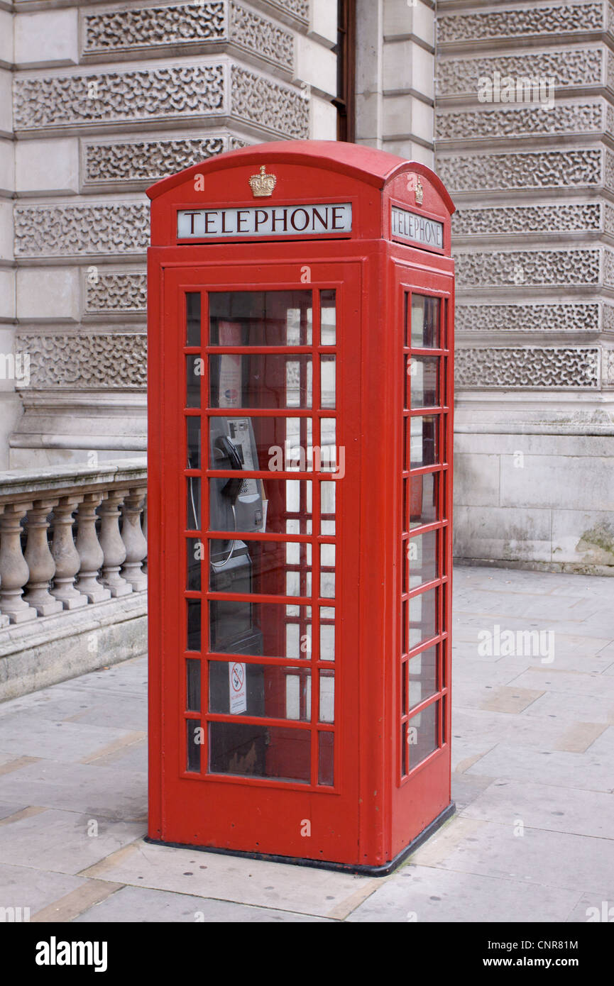 Red telephone box in Westminster, London, UK - Stock Image