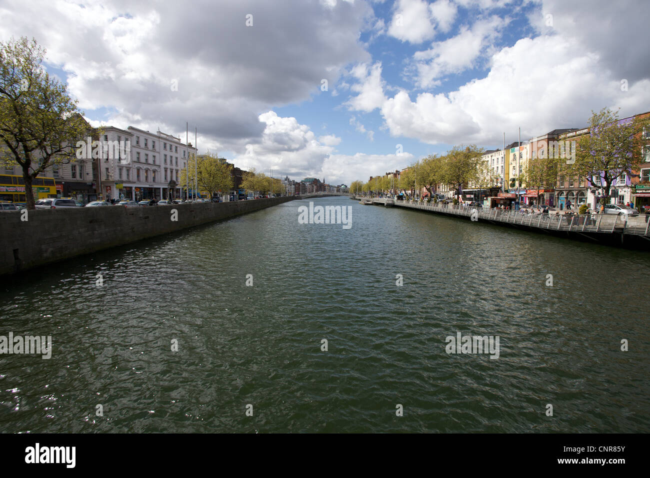The view from O'Connell Bridge looking west along the River Liffey in Dublin, Ireland. - Stock Image