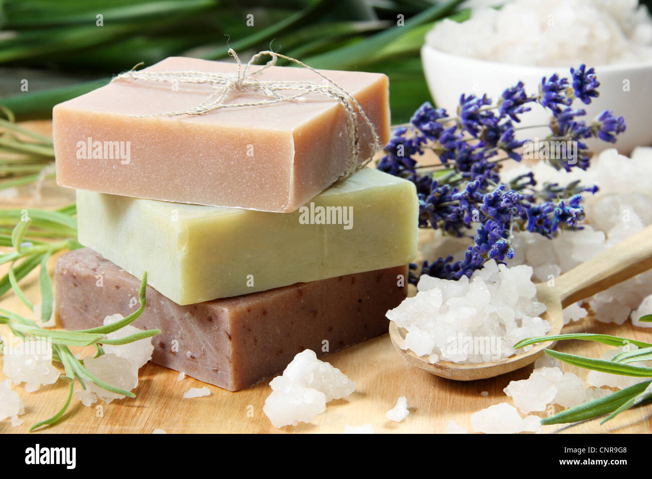 Homemade Soap with Lavender Flowers and Sea Salt - Stock Image