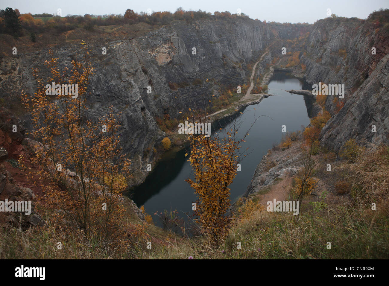 Velka Amerika or Big America. Abandoned limestone quarry near Morina village in Central Bohemia, Czech Republic. - Stock Image