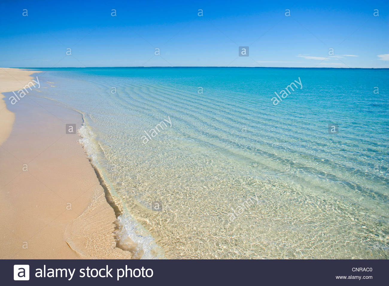 white sandy beach, clear turquoise coloured water and a deep blue sky combine to a perfect beach, Australia, Western - Stock Image