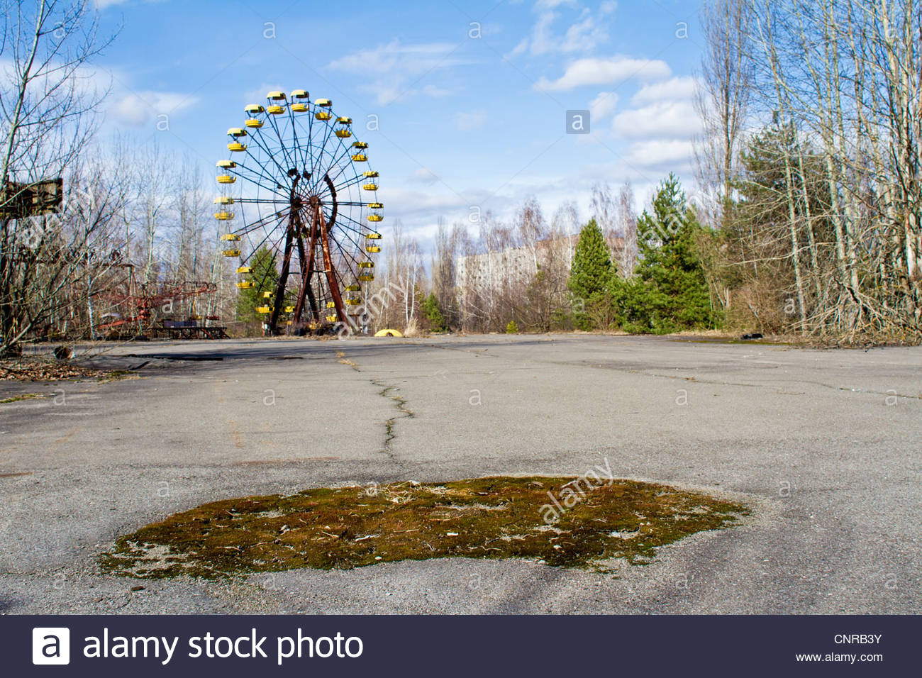Chernobyl. Pripiat. 2012 March, Chernobyl zone. March 2012. The ferris wheel in The Pripiat city. The highest level - Stock Image