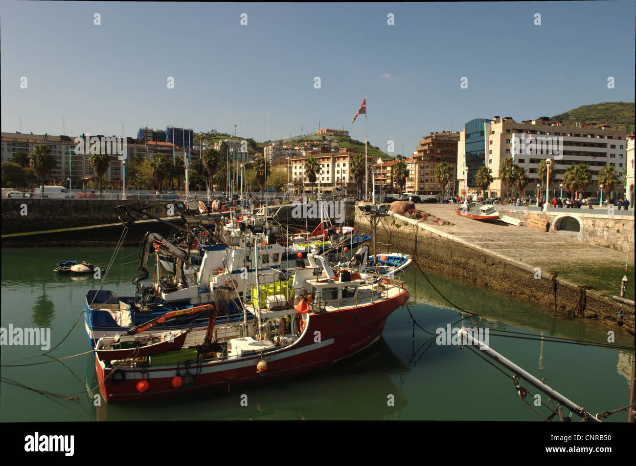 A view of the harbour of Santurzi - Stock Image