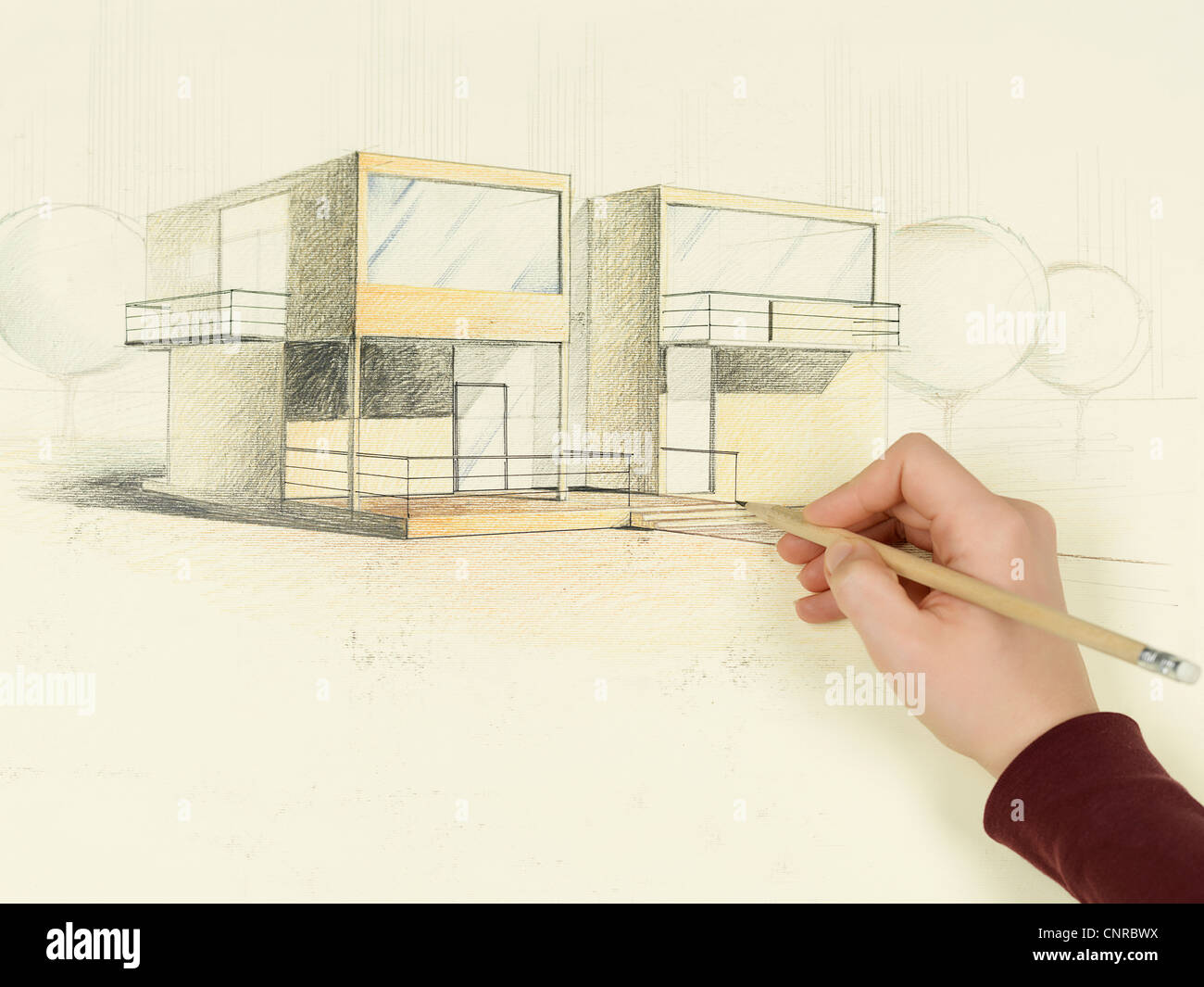 Woman S Hand Drawing Architectural Perspective Of Modern House Stock
