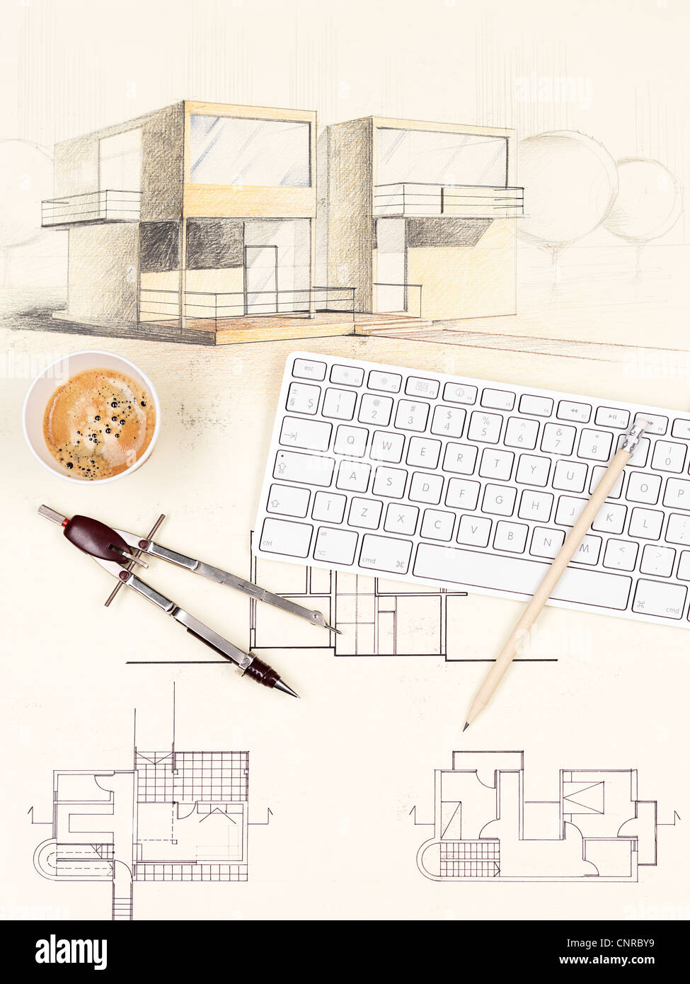 architectural blueprint of modern house, with computer keyboard, coffee cup, pencil and compasses - Stock Image