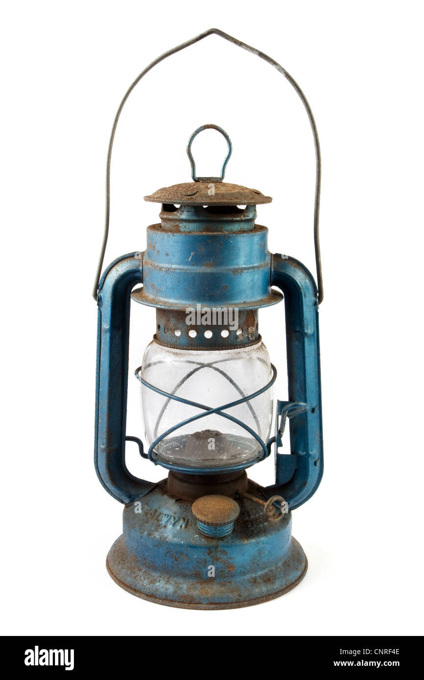 Old Blue Rusty Lantern Over White