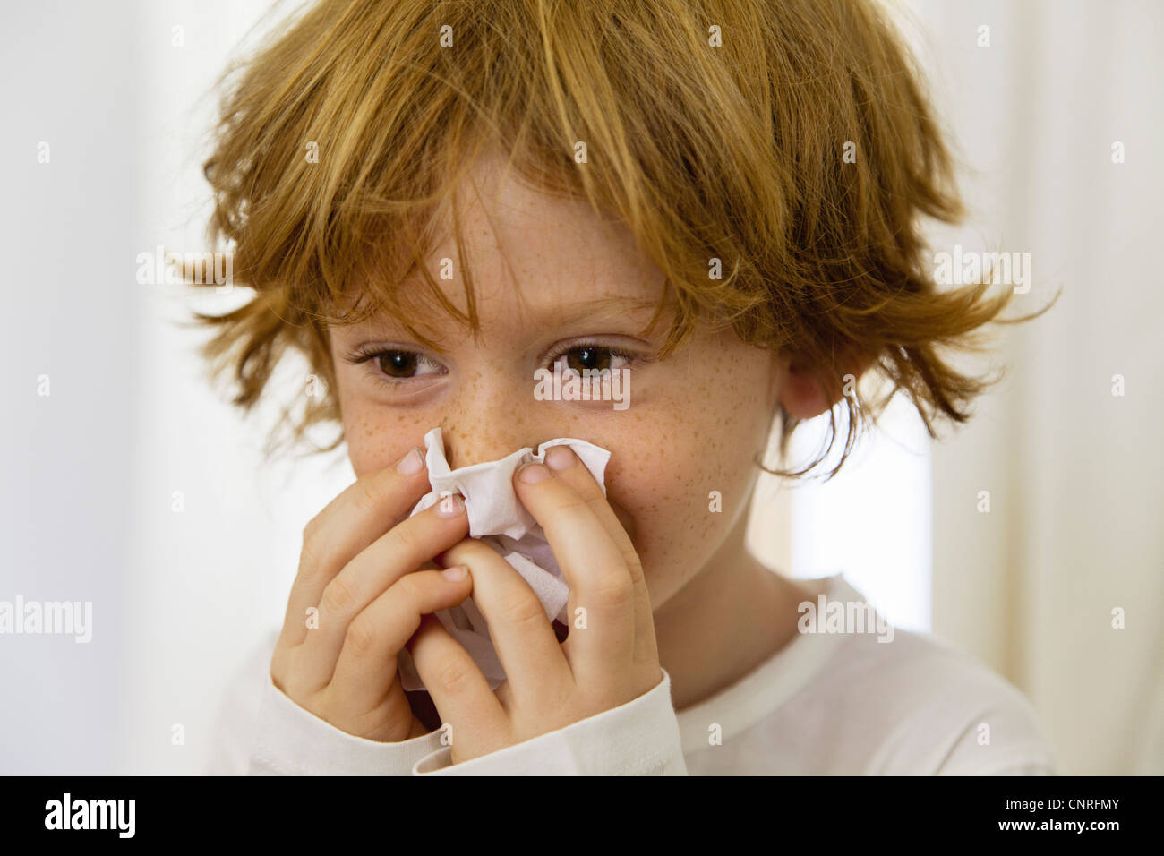 Boy blowing nose on tissue - Stock Image