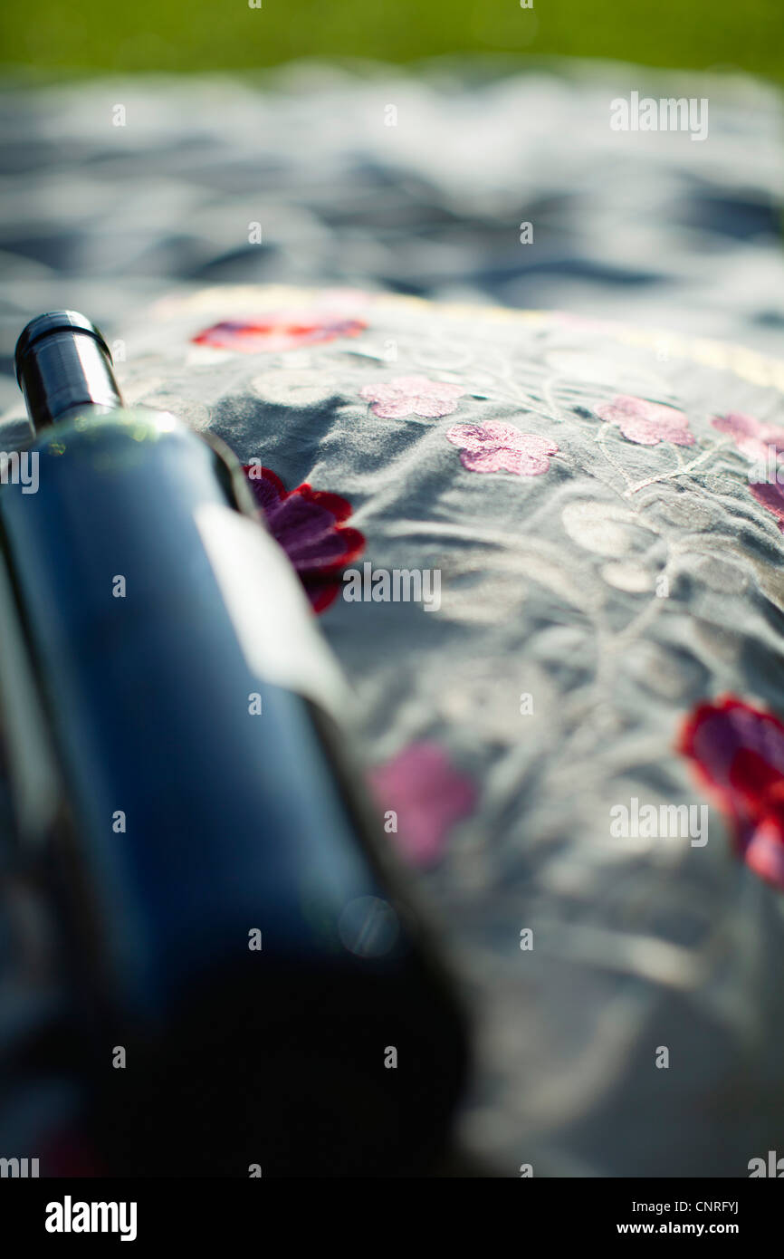 Bottle of wine, high angle view - Stock Image