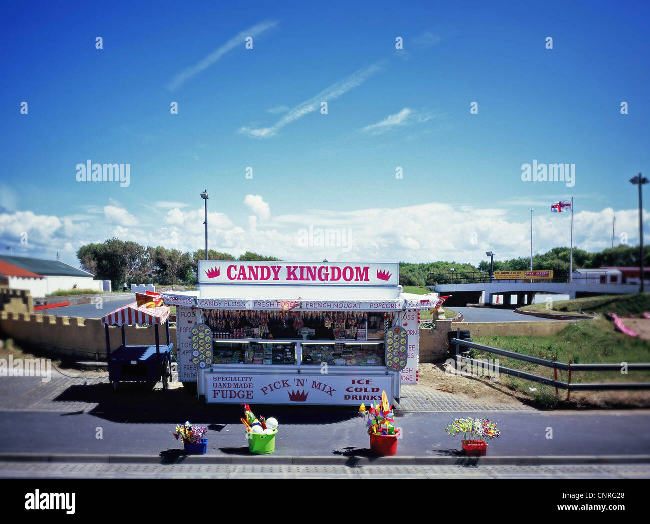 British seaside rock and sweet stall. - Stock Image